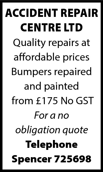 ACCIDENT REPAIR CENTRE LTD Quality repairs at affordable prices Bumpers repaired and painted from £175 No GST For a no obligation quote Telephone Spencer 725698