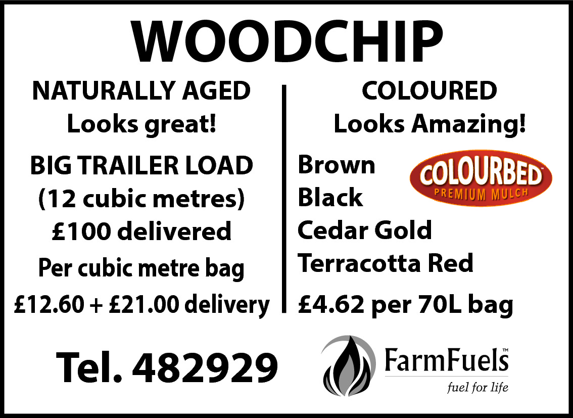 WOODCHIP  NATURALLY AGED Looks great!  COLOURED Looks Amazing! Brown BIG TRAILER LOAD Black (12 cubic metres) Cedar Gold £100 delivered Terracotta Red Per cubic metre bag £12.60 + £21.00 delivery £4.62 per 70L bag  Tel. 482929