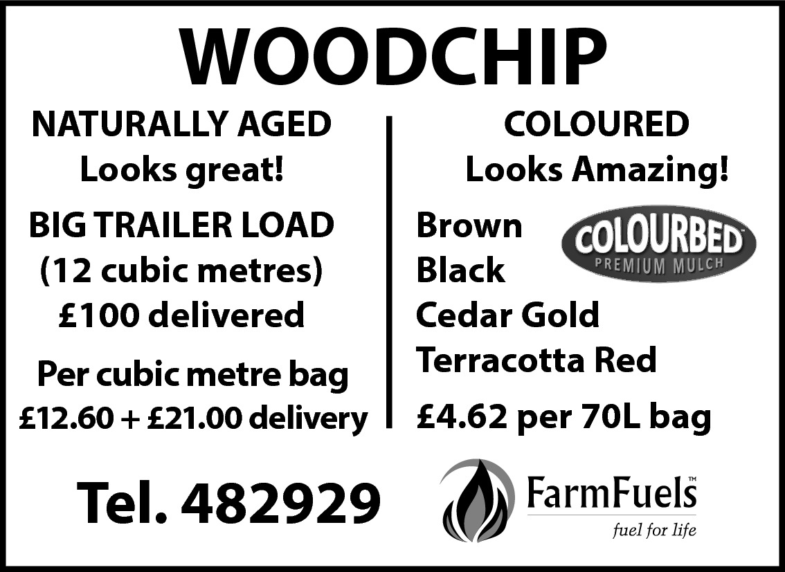 WOODCHIP  NATURALLY AGED Looks great! BIG TRAILER LOAD (12 cubic metres) £100 delivered Per cubic metre Per cubic metre bag £12.60 delivered £12.60 + £21.00 delivery  Tel. 482929  COLOURED Looks Amazing! Brown Black Cedar Gold Terracotta Red £4.62 per 70L bag