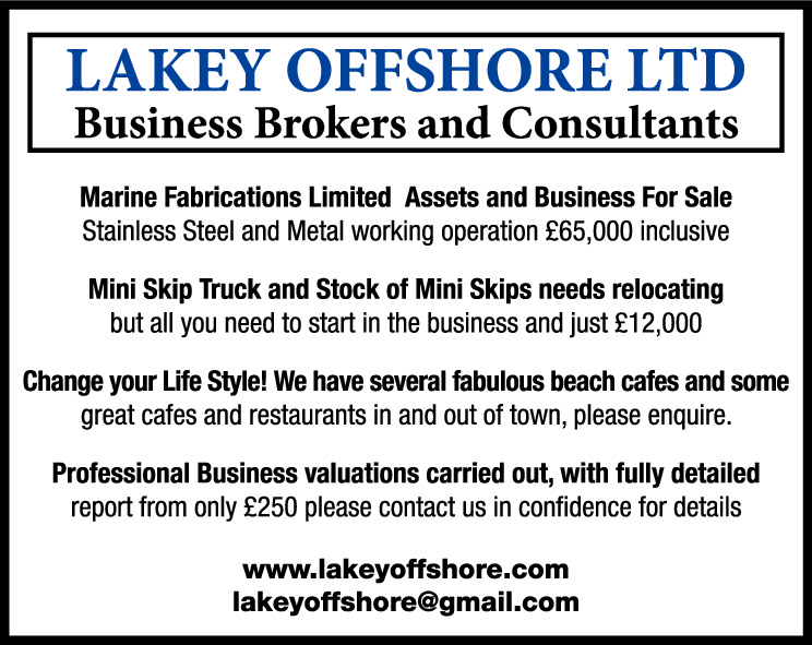 LAKEY OFFSHORE LTD Business Brokers and Consultants  Lovely Period Country Pub and Eatery, low rent plus 3 bed flat 50 Covers, open fire and beer garden. A bargain at just £69,500 Ingoing In the centre of St Helier, a well fitted out cafe/bistro, 50 covers, sunny terrace, fully equipped, always busy, ingoing £95,000 ono Change your Life Style! We have several fabulous beach cafes and some great cafes and restaurants in and out of town, please enquire. Professional Business valuations carried out, with fully detailed report from only £250 please contact us in confidence for details www.lakeyoffshore.com lakeyoffshore@gmail.com