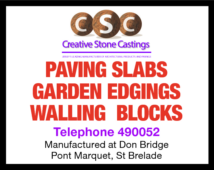 JERSEY'S LEADING MANUFACTURER OF ARCHITECTURAL PRODUCTS AND PAVINGS  PAVING SLABS GARDEN EDGINGS WALLING BLOCKS Telephone 490052  Manufactured at Don Bridge Pont Marquet, St Brelade
