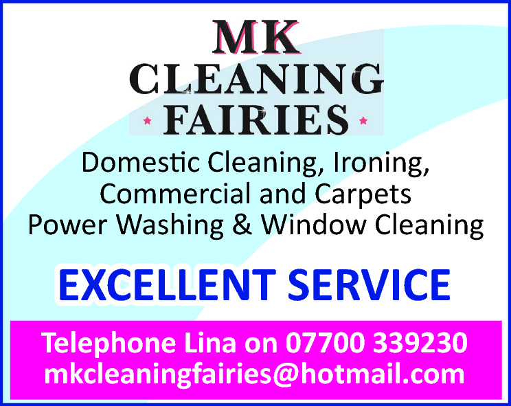 Domestic Cleaning, Ironing, Commercial and Carpets Power Washing & Window Cleaning  EXCELLENT SERVICE Telephone Lina on 07700 339230 mkcleaningfairies@hotmail.com