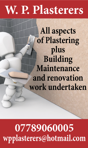 W. P. Plasterers All aspects of Plastering plus Building Maintenance and renovation work undertaken  07789060005  wpplasterers@hotmail.com