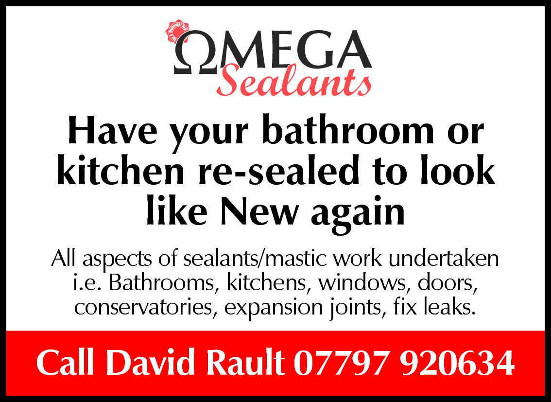 Have your bathroom or kitchen re-sealed to look like New again All aspects of sealants/mastic work undertaken i.e. Bathrooms, kitchens, windows, doors, conservatories, expansion joints, fix leaks.  Call David Rault 07797 920634