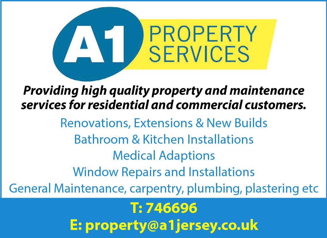 Providing high quality property and maintenance services for residential and commercial customers. Renovations, Extensions & New Builds Bathroom & Kitchen Installations Medical Adaptions Window Repairs and Installations General Maintenance, carpentry, plumbing, plastering etc  T: 746696 E: property@a1jersey.co.uk